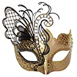 CCUFO [Flying Butterfly] Rose / Gold Gesicht [funkelnden Flügel] Laser Cut Metall venezianischen Frauen Maske Maskerade / Party / Ball Prom / Mardi Gras / Hochzeit / Wanddekoration