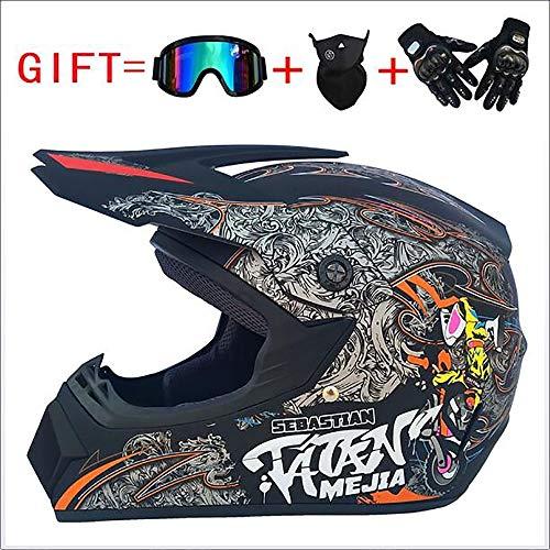 Sunzy Casco de Motocicleta de Motocross, Casco anticolisión de Cuatro Estaciones Desmontable para Hombre y Mujer para Enviar Gafas/máscara/Guantes Certificación Dot (S, M, L, XL),M