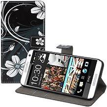 kwmobile Funda para HTC Desire 610 - Wallet Case plegable de cuero sintético - Cover con tapa tarjetero y soporte Diseño espiral de flores en blanco negro