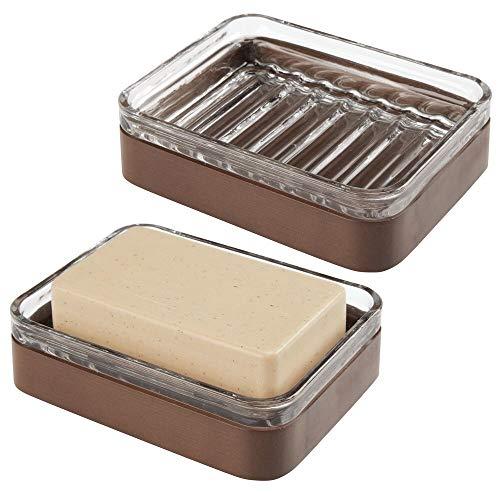 mDesign Set da 2 Portasapone design in bambù e vetro - Funzionale vaschetta per sapone ecologica - Porta sapone per il bagno e la cucina - trasparente e marrone