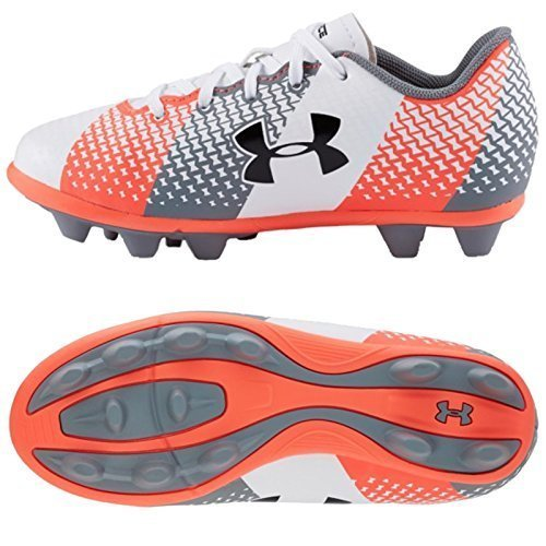 Under Armour Junior CF Force HG Football Bottes Blanc/Orange/Gris (1266878-102)