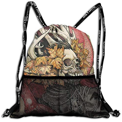 Black Metal, Mini - (ziHeadwear Skeletonwitch Black Thrash Metal Heavy Drawstring Bag Sport Gym Sack Bundle Backpack Daypack for Men and Women Outdoor Shopping Satchel Rucksack)
