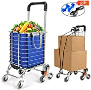 Folding Shopping Cart Portable Grocery Utility Lightweight Stair Climbing Cart with Rolling Swivel Wheels and