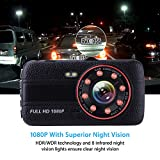 Car Camera Dash Cam Front and Rear Dual Camera, Superior Night Vision 1080P HD Dashcam,4 Inch Large IPS Screen Car Dashboard Camera, Car DVR Recorder With G-sensor, Loop Recording, Motion Detection. WDR Car Video Recorder with 170°Wide Angle