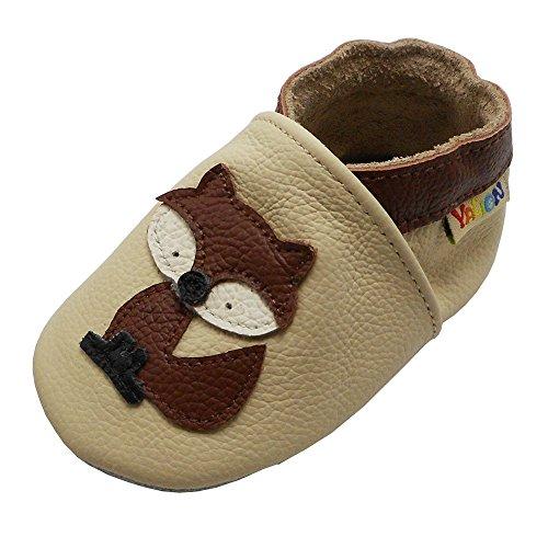 Yalion Premium Weich Leder Babyschuhe Krabbelschuhe Lauflernschuhe Hausschuhe mit Fuchs Beige, 6-12 Monate