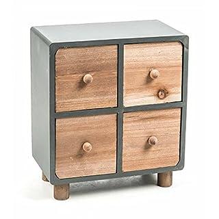 Mini-Kommode aus Holz, 4 Schubladen, freistehend, moderne Landhaus-Serie in natur/grau, Größe ca. 22 x 25 x 12 cm