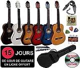 Pack Guitare Classique 4/4 (Adulte) + 6 Accessoires + Cour Vidéo et DVD (Noir)