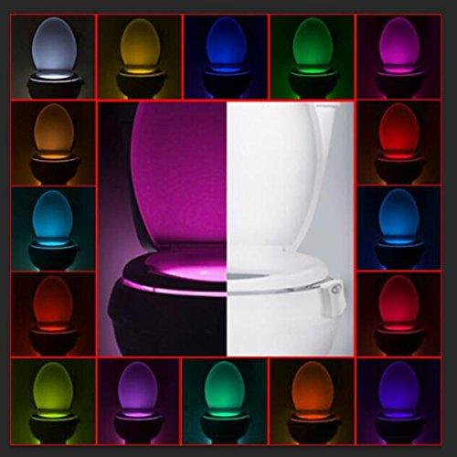 Butterme WC Nachtlicht, Körpersensor Licht, Sensor Bewegung Aktiviert LED Nachtlicht, WC Schüssel Light-16 Farben 2 Formen ändern für Nacht Toilette Waschraum (Auto Dem Leuchtet Farbe Unter)