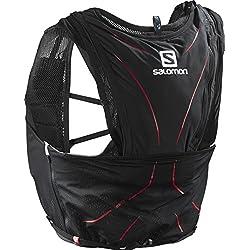 Salomon Mochila ligera para running, senderismo o ciclismo, 12 L, 42 x 20 cm, 395 g, ADV SKIN 12 SET, Talla: XS/S, Negro, L39264000