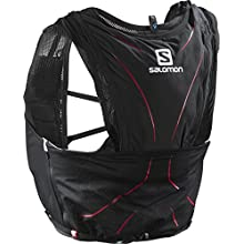 SALOMON Small Running/Trail Back Pack, Practical and Light, 1.2 Litre Capacity, Softflask Included, Adv Skin 12 Set, Black/Red (Matador), XS/S, L39264000