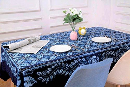 Midori Houseware 100% handgearbeitet-Tischdecke, Hand Made Exotische Wanddekoration, Gobelin, Sofa, Picknick Tischdecken, chinesische Ethnische Stil Wanddekoration, Marineblau/Blau/white150x 200cm (149,9x 200,7cm) (Batik Gobelin Tischdecke)