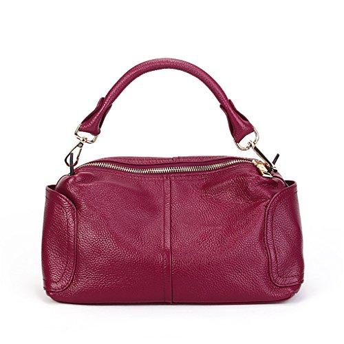 SUNROLAN Damen Umhängetasche Leder Handtasche Crosbody Damentasche Business-Stil 28x13x18cm (L xB x H) Schwarz Rose-Violett