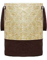 Kuber Industries Metalic Printed Waterproof Canvas Laundry Bag, Toy Storage, Laundry Basket Organizer 45 L (Brown) CTKTC134616