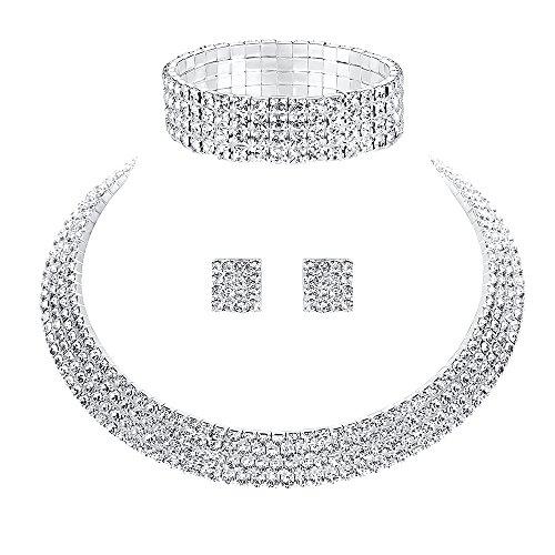 Mecresh da sposa 1/2/3/4/5ROW strass di cristallo per donne (1orecchini & collana & braccialetto) e placcato Argento, cod. TL299+SL116