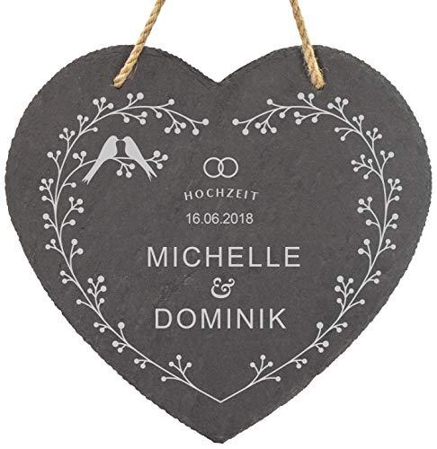 LAUBLUST Schiefer-Herz personalisiert mit Vogelpärchen Gravur - 25x25cm, Anthrazit - Dekorative Schiefertafel mit Halteseil als Deko-Tafel   Hochzeitsgeschenk   Wand-Schild   Geschenkidee für Paare