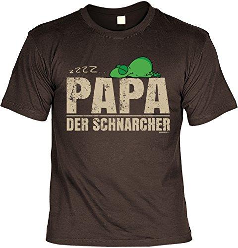 Fun T-Shirt zum Vatertag: zzzz.... Papa der Schnarcher - Geschenk, Geburtstag, Vatertagsausflug - braun Braun