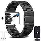 OTOPO Gear S3 Frontier/Classic Armband Frauen Männer, 22mm Metallarmband Armband Edelstahl Uhrenarmband Ersatz für Samsung Gear S3 Frontier / S3 Classic Smart Watch (Metall Schwarz - Klein)