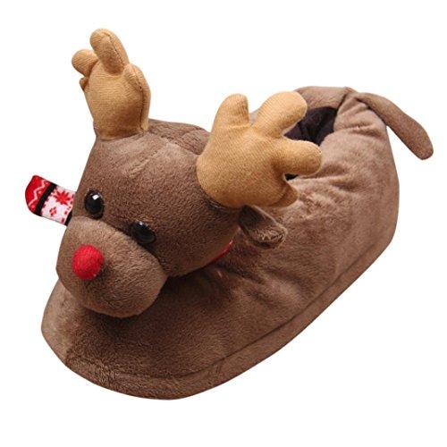 Odejoy Unisex Adulti Plush 3D Novità Di Natale Pantofole Renna Unisex Inverno Caldo Indoor Natale Peluche Pantofole Casa Cotone Scarpe (m, Brown)