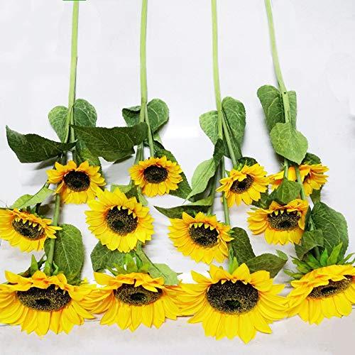 Eazyhurry, girasole artificiale in seta artificiale, bouquet di girasoli con foglie, girasoli artificiali, composizioni floreali per stanze, patio, matrimoni e decorazioni per la casa, 2 pezzi
