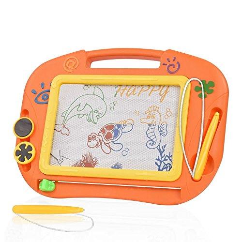 Pizarras Mágicas Colorido con Pluma de TTMOW, Almohadilla Borrable de Escritura y Dibujo, Juguetes Educativos para niños 2 años 3 años 4 años (Naranja)