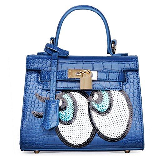 wewod donne PU tasche tasche sulle spalle borsa a mano borsa manico in pelle un regalo perfetto Blau