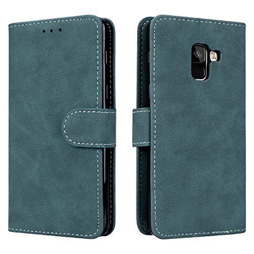 Prologfer Samsung Galaxy A5 2018 Hülle Blau Lederhülle Handytasche Karten Slot Case Cover Flip Bookstyle Standfunktion mit Magnet Schutzhülle für Samsung A8 2018 Handyhülle