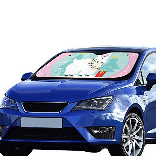 Niedliche Auto Windschutzscheibe Sonnenschutz Weihnachten Lama Globe Faltbare Sonnenschutz für maximale UV-und Sonnenschutz Halten Sie Ihr Fahrzeug Cool 55 x 30 Zoll (140 x 75 cm) Auto Frontscheibe S