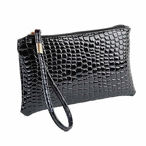 Frauen Krokodil Leder Kupplungs Handtasche Geldbörse (Schwarz)