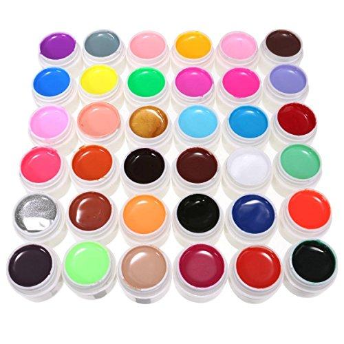 #DancingNail 36 Farben Nail Art UV Gel Set Farbgel Gele Glitter Puder Nagel Design Nagel Kunst spitzt#