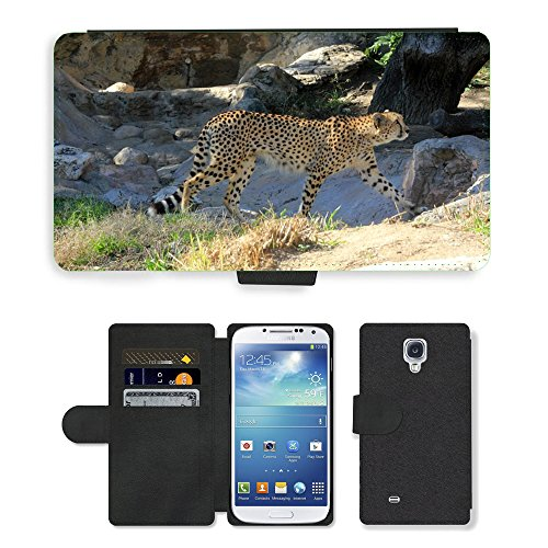 Just Phone Cases PU LEDER LEATHER FLIP CASE COVER HÜLLE ETUI TASCHE SCHALE // M00128864 Cheetah African Predator Gehen // Samsung Galaxy S4 S IV SIV i9500 (Gehen Cheetah)
