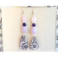 boucle d oreille crochet argent améthyste quartz et céramique fleurie bijou rose violet cadeau pour elle femme copine amie