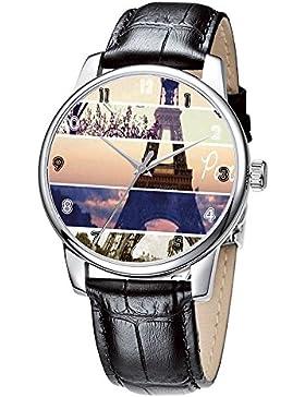 Topgraph Uhren Damen Lederarmband Analog Qaurzuhr Armbanduhr Eiffel Tower