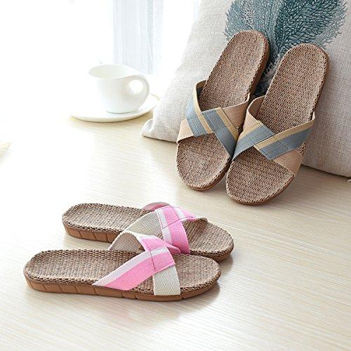 Hommes et couples de femmes à l'intérieur Maison Chaussures Linge non chaussons Slip B rose