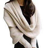 SUCES Frauen-Winter-warme Strick-Wollschal-lange Hülsen-Verpackungs-Schal-Schal Winter Warm Weicher Unifarben Loop Schal Gestricktes Schlauchschal for Damen (Beige)