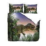 yyygg Dinosaurier Bettbezug Und Kissenbezug, Schlafzimmer Dreiteilige Bettwäsche (Bettbezug 2 Kissenbezüge) Verhindern Feuchtigkeit, Hypoallergen, 200x200 cm