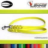 LENNIE BioThane Führleine, 9mm breit, 1,25m lang, Neon-Gelb, mit Handschlaufe, geflochten
