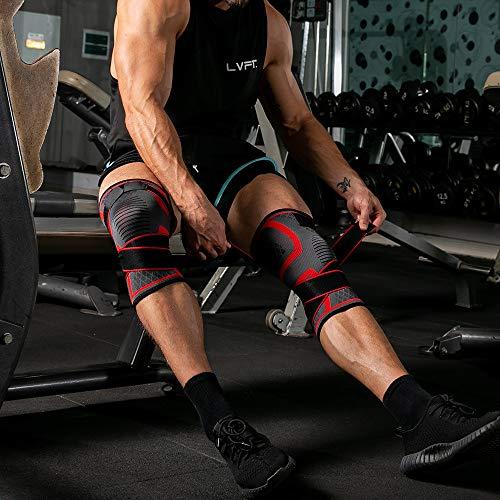 Qiamay Unisex Kniebandage Knie Sleeve Unterstutzung für Sport Running Hiking Klettern Reiten Basketball Knee Pads(Rot,L)