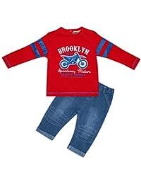 Bebé Niños 2pieza algodón ropa de manga larga camiseta & pantalones vaqueros Brooklyn Speedway rojo