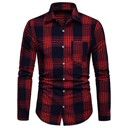 DNOQN Coole Shirts Herren Langarmshirt Herren Langarm Gitter Plaid Malerei Übergröße Beiläufig Top Bluse Shirts M