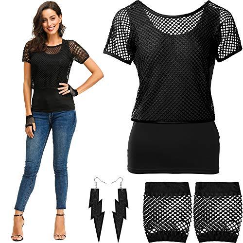 Mode Schwarz Kostüm - Blulu 80 Jahre Kostüme Set, Fischnetz aus Schulter T-Shirt Tank Handschuhe Ohrringe Halskette (Schwarz, XXL)
