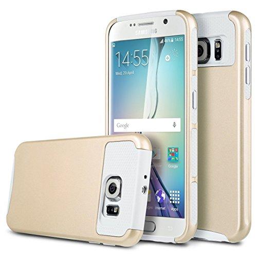 Galaxy S7Fall, x-Master [Stoßdämpfung] [Armor Series] Heavy Duty [1Verbindungskabel] Dual Layer Armor Schutzhülle mit Integriertem Standfuß für Samsung Galaxy S7(13cm), Gold/Weiß