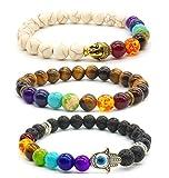 Achat Perlen 7 Chakras Energie Stein Armband Yoga Healing Balance Stein Armkette Elastisches Steinarmreif (Colour10)