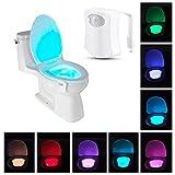 Körper Sensing Automatische LED-WC-Nachtlicht, LED Sensor Motion aktiviert WC-Licht Batteriebetrieben, 8Farben wechseln Nachtlicht WC-Schüssel Licht