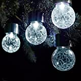 Solalite® Set of 6 Solar Hanging Crackle Ball Globe Lights Outdoor Garden Party - White LED