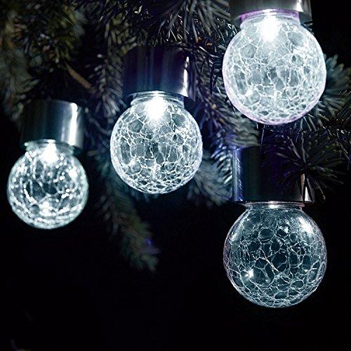 Solalite® Set von 9hängenden Solar -Kugellichtern, für draußen, Garten, Party–Weiß LED, weiß, 6er-Set, LED