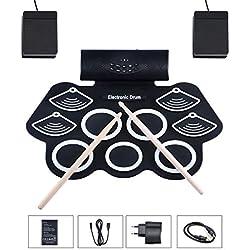 Asmuse Batterie Électronique Drum Set, Portable Électronique Roll Up Tambour, Silicones Drum Set, 9 Pads de Batterie Sensibles avec 7A Baguettes de tambour/Pédales/Batterie Rechargeable/Adaptateur