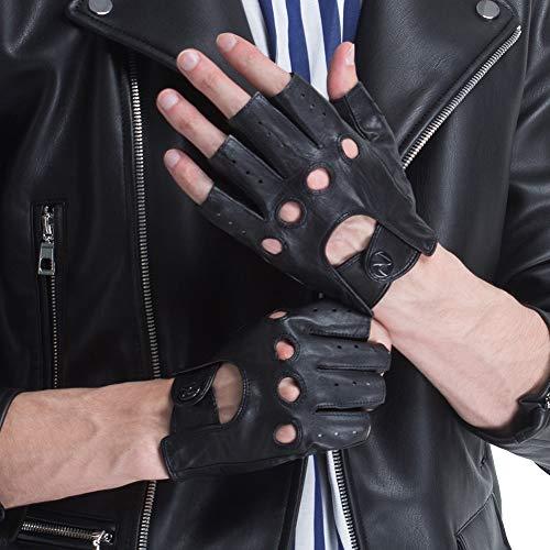CHULRITA Herren Lederhandschuhe für Fahren und Motorradfahren, fingerlos, ungefüttert, Retro, halbe Finger, Herren, schwarz, XXL(Plam Girth: 9.5