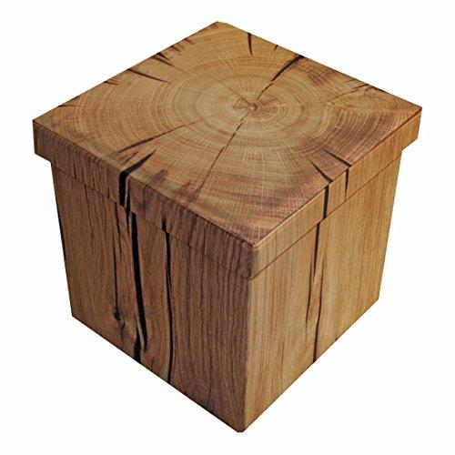 Sitzhocker Sitzwürfel Fußbank Aufbewahrungsbox Storagebox Baumrinde 38 cm faltbar