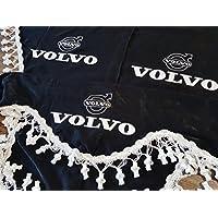 3 Piezas Negro Cortinas con Borlas Blancas TAMAÑO UNIVERSAL Accesorios Decoración Tejido de Felpa