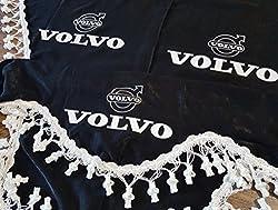 3-Teilig Set Schwarz Gardinen mit Weiß Bommeln UNIVERSAL GRÖSSE Alle Modelle Truck LKW Zubehör Dekoration Innenraum Vorhänge Plüsch Stoff